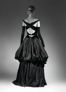 Charles James, Evening Dress, 1948, Black silk satin and black silk velvet, The Metropolitan Museum of Art, New York, Brooklyn Museum Costume Collection at The Metropolitan Museum of Art, Gift of the Brooklyn Museum, 2009; Gift of Millicent Huttleston Rogers, 1949.